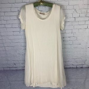 Giulia Italy Silk Ivory Dress Raw Edge Lace Small